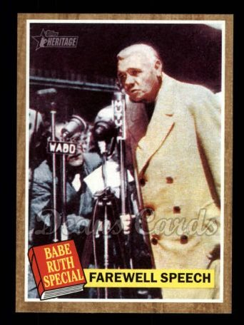2011 Topps Heritage #144 A  -  Babe Ruth Farewell Speech